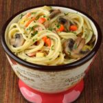 Salmon Tetrazzini with Turnips, Carrots, Onions and Mushrooms