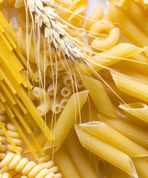 Several types of pasta, spikelets of wheat  on white